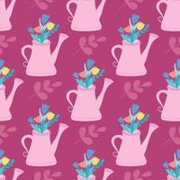 Pink watering can with flowers, plants. Vector seamless pattern in flat style