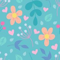 Colorful plants and flowers. Vector seamless pattern, wallpaper