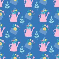 A pink watering can and an envelope with flowers and plants. Vector seamless pattern in a flat style on a blue background