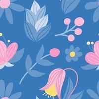 Cute pink and blue flowers. Vector seamless pattern in flat style