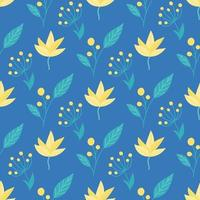 Cute yellow-green flowers, plants on a blue background. Vector seamless floral pattern in flat style