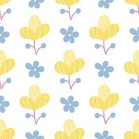 Cute plants on a white background. Vector seamless floral pattern in flat style