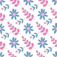 Cute pink and blue flowers on a white background. Vector seamless pattern in flat style