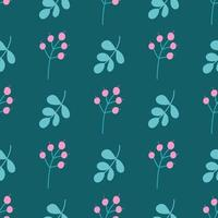 Cute flowers, plants on a green background. Vector seamless floral pattern in flat style