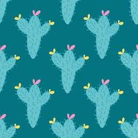 A cactus with a pink and yellow flower on a green background. Vector seamless pattern in flat style