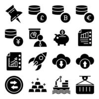 Pack of Financial Business Growth Glyph Icons vector
