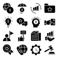 paquete de iconos de glifo de idea de negocio vector
