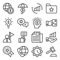 paquete de iconos lineales de idea de negocio vector
