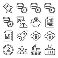 Pack of Financial Business Growth Linear Icons vector