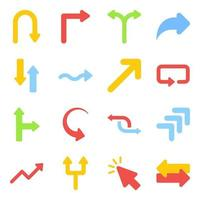 Pack of Directional Arrows Flat Icons vector