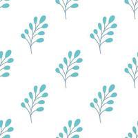 una ramita con hojas sobre un fondo blanco. vector de patrones sin fisuras en estilo plano