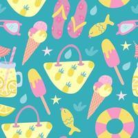 patrón sin costuras de playa de verano en estilo plano. bolsa de playa, helado, limonada, chanclas, lentes de sol. ilustración vectorial vector