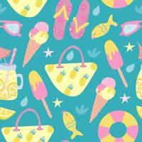 Summer beach seamless pattern in flat style. Beach bag, ice cream, lemonade, flip-flops, sunglasses. Vector illustration