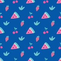 A slice of watermelon, cherry and strawberry on a dark blue background. Vector seamless pattern in flat style