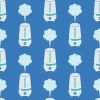 Humidifier on a blue background. Vector seamless pattern in cartoon style
