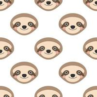 Cute sloth face on a white background. Vector seamless pattern in flat style
