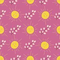 el sol y una rama de sauce sobre un fondo rosa. vector de patrones sin fisuras en estilo plano
