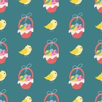 A chicken and a basket of Easter eggs on a green background. Vector seamless pattern in flat style