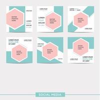 Social media post design templates pack vector