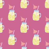 limonada en un frasco con una pajita y un paraguas sobre un fondo rosa. vector verano de patrones sin fisuras
