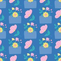 Envelope with flowers on a blue background. Vector seamless pattern in flat style