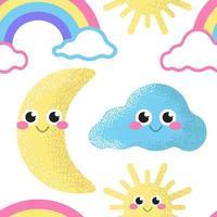 arco iris, sol, luna y nube sobre un fondo blanco. patrón transparente de vector. papel pintado infantil vector