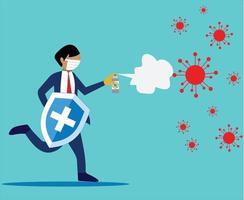 persona lucha contra el virus corona con diseño vectorial desinfectante vector