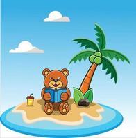 Bear on Beach Reading vector