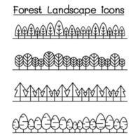 Paisaje forestal en vista panorámica ilustración vectorial diseño gráfico