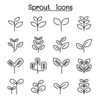 Sprout, treetop, tree, plant icon set in thin line style vector