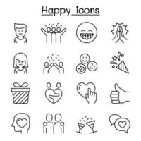 Happy icon set in thin line style vector