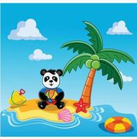 panda playing with ball and sand on the beach flat design vector