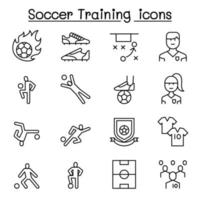 Soccer training, football club icon set in thin line style vector