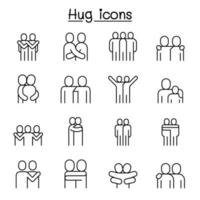 Love, hug, friendship, relationship icon set in thin line style vector