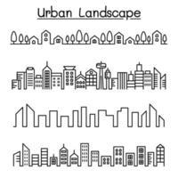 paisaje urbano, diseño gráfico del ejemplo del vector del horizonte de la ciudad