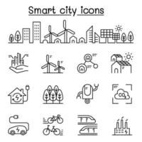ciudad inteligente, ciudad sostenible, icono de ciudad ecológica en estilo de línea fina