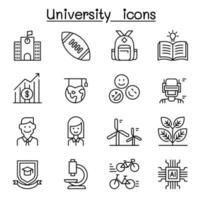 University, college, school icon set in thin line style vector