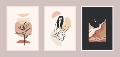 conjunto de grabados de arte contemporáneo. arte lineal. diseño vectorial moderno para carteles, tarjetas, envases y más
