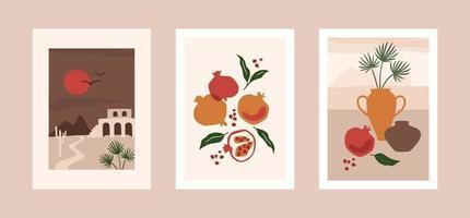 colección de grabados de arte contemporáneo. diseño vectorial moderno para arte de pared, carteles, tarjetas, camisetas y más vector