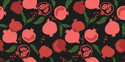Vector seamless pattern with pomegranate. Trendy hand drawn textures. Modern abstract design
