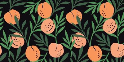Vector seamless pattern with peaches. Trendy hand drawn textures. Modern abstract design