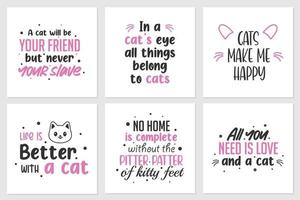 Collection of quotes about cute cats or animals. Can be applied on t-shirts, home wall displays, and others