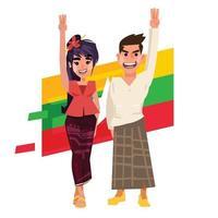 myanmar, hombre, mano, mujeres, levantar la mano, con, tres dedos, -, vector, ilustración