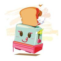 toaster with bread - vector