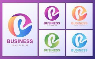 conjunto de logotipo letra r