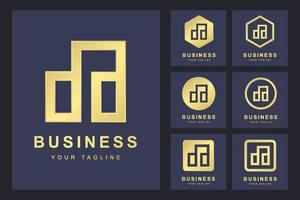 conjunto minimalista de logotipos de letras da, da