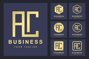 Letter AC logo template set vector
