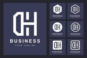 conjunto minimalista de logotipos de letras dh, dh