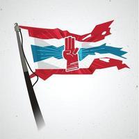 Saludo de tres dedos en la bandera de Tailandia - vector