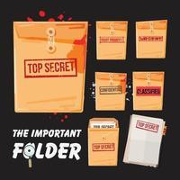 carpeta secreta y juego de papel - vector